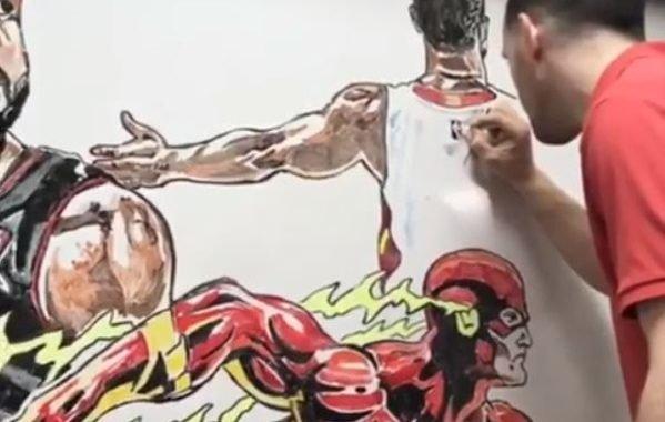Jarred Corey, el artista que dedicó un mural de pizarra blanca a la carrera de Dwyane Wade